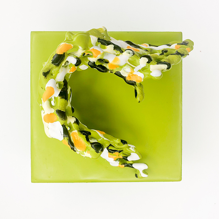 Encaustic Wall Sculpture in Lime Green